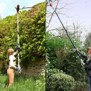 Long Reach Telescopic Hedge Trimmer AND Electric Telescopic Angled Branch Lopper Chainsaw