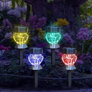 Set of 4 Colour Changing Solar Stake Lights