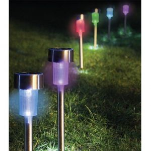 Set of 6 Stainless Steel Colour Changing Solar Stake Lights